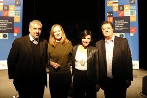 Ministro de Cultura Ernesto Ottone, Ana Carolina Fonseca, Sofía Lobos y José Sanfuentes, Rector de IP-ARCOS
