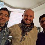 Francisco Solano, creador del Mapping exhibido en Arcos, junto a Carlos Doren y Emiliano Aguayo.