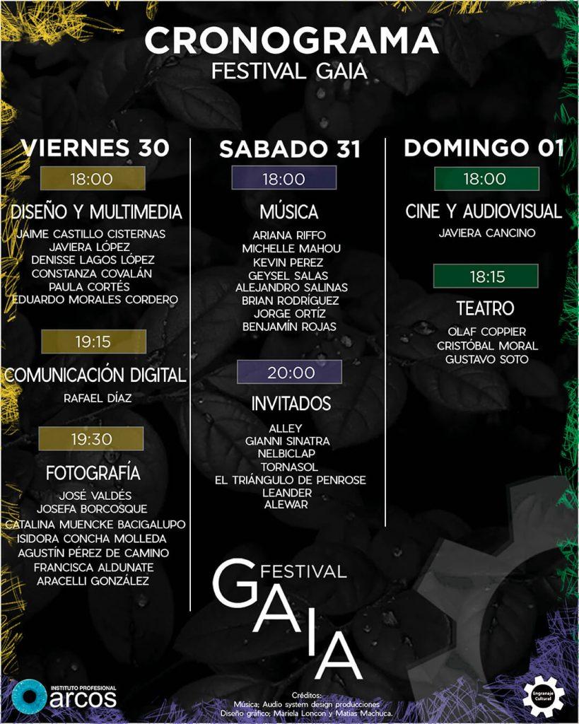 Cronograma Festival GAIA